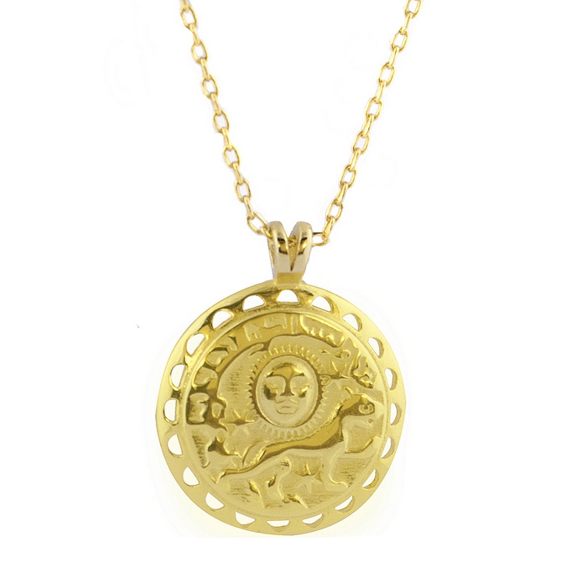 Coin Sun | Ketting goldplated 925 zilver