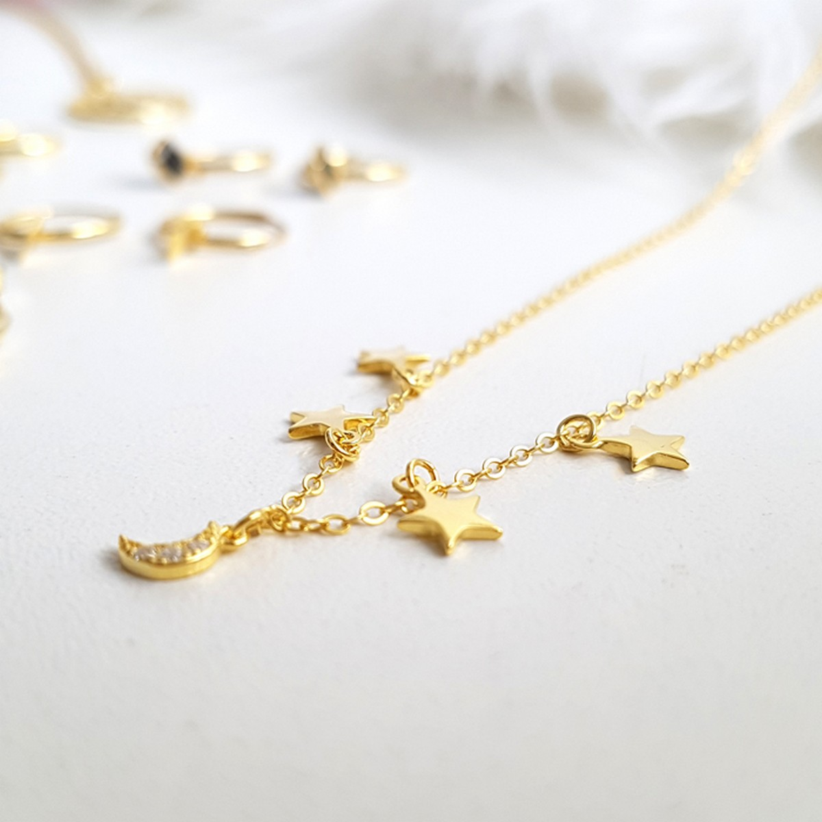 Moon & Stars | Ketting goldplated 925 zilver
