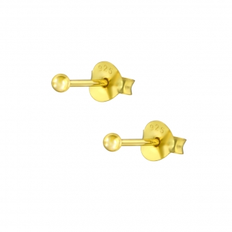 Dot studs | Oorbellen 925 zilver goldplated | 2 mm