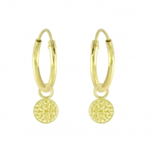 Patterned Coin | Oorbellen Goldplated 925 zilver